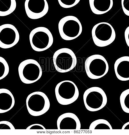 Cute hand drawn seamless pattern with circles in modern style