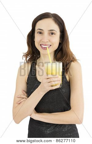 Woman With Glass Of Banana Smoothie
