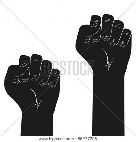 Symbol of clenched fist held in protest