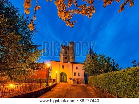 Early morning in small italian town of Serralunga d'Alba in Piedmont, Northern Italy.