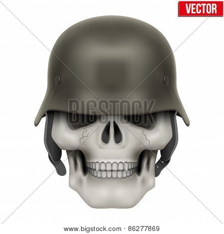 Human skulls with German Army helmet