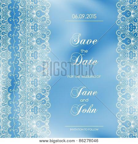 Vintage wedding invitation with lace border