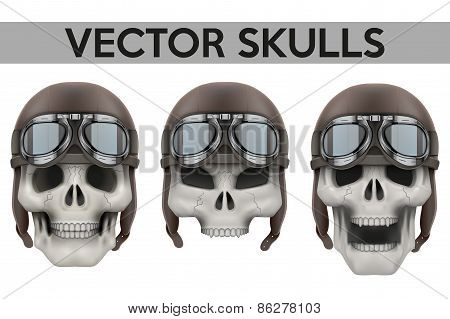 Set of Human skulls with retro aviator or biker helmet.