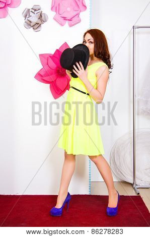 Happy Young Woman With A Top Hat