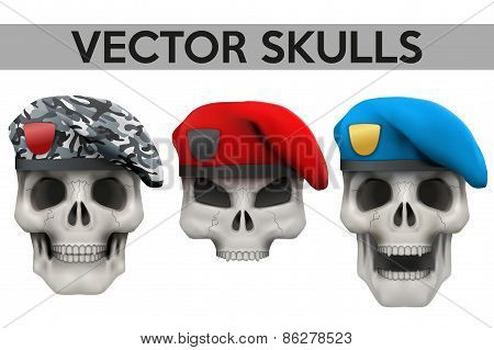 Set of Vector Human skulls with military berets on head