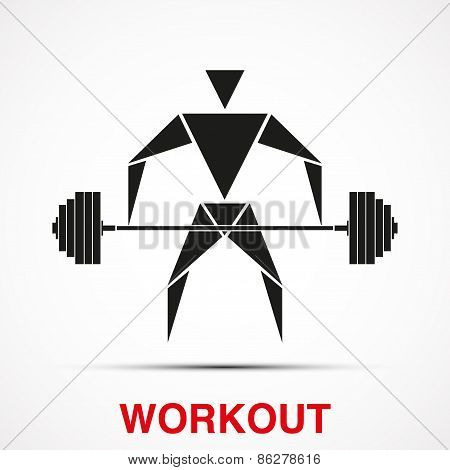 Workout logo with triangle man. Vector Illustration