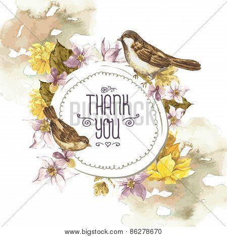 Floral Retro Card with Bird Sparrows