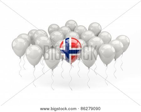 Air Balloons With Flag Of Norway