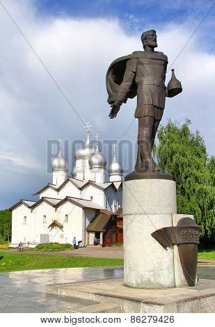 Statue Of Alexander Nevsky In Veliky Novgorod