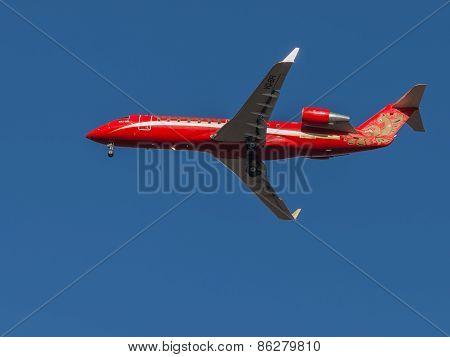 Beautiful Red Passenger Aircraft