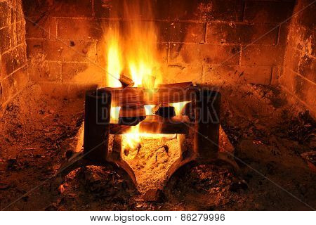Hot and cozy fireplace