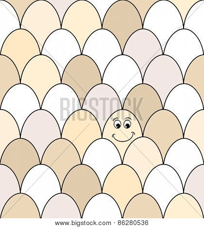 Seamless pattern of rows of brown and white chicken eggs. One has a smiley face drawn on it.