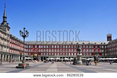 MADRID, SPAIN - AUGUST 11: People walking in Plaza Mayor square on August 11, 2014 in Madrid, Spain. This popular square dominated by a equestrian statue is the core of the Old Town of the city