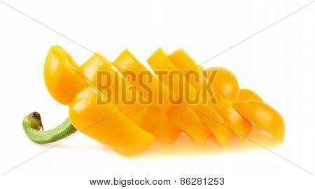 Sweet orange bell pepper isolated