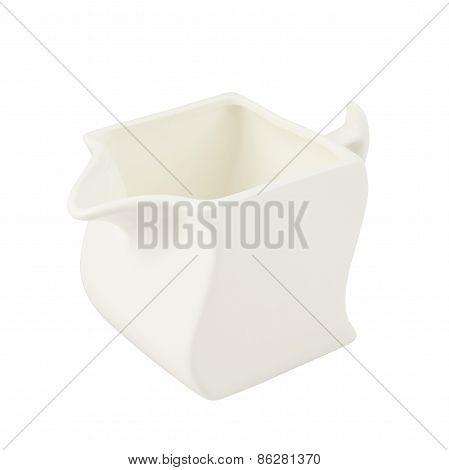 White ceramic cream jar isolated