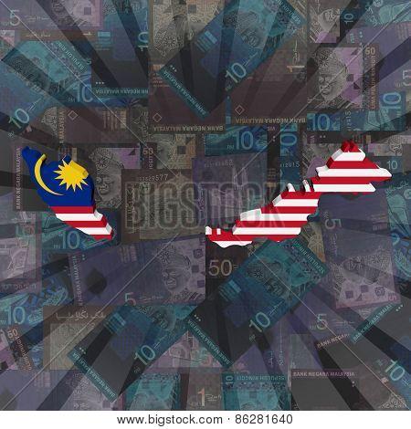 Malaysia map flag on Ringitt sunburst illustration