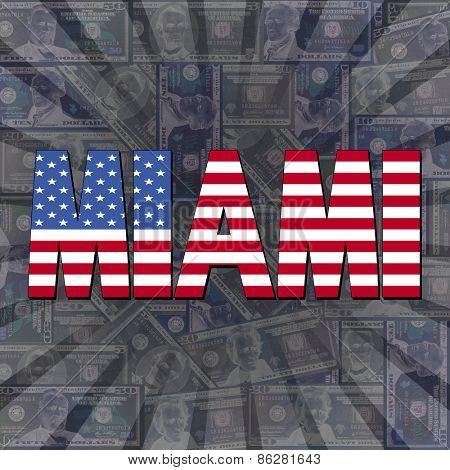 Miami flag text on dollars sunburst illustration