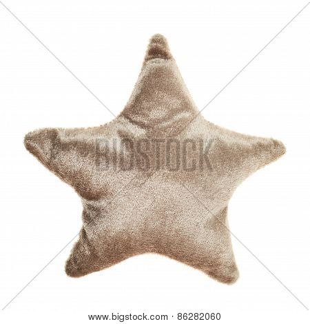 Plush brown star shaped pillow toy
