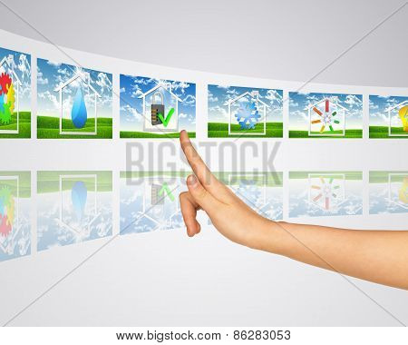 Icon protected house on background of lawn. Virtual screens