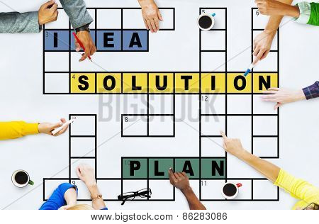 Solution Ideas Plan Solving Result Crossword Concept