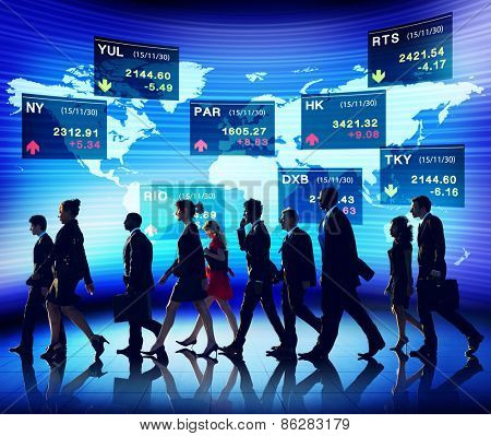 Business People Global Stock Trading Team Concept