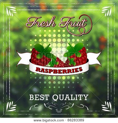 Raspberry fruit on natural background with ribbon