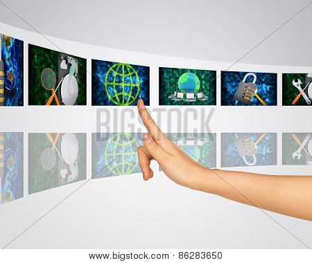 Protection of information and its search. Virtual screens
