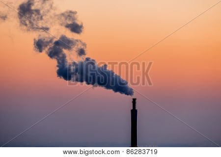 smoking chimneys in the industrial zone in linz, austria, upper austria