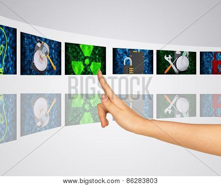 Theme of dangerous viruses, data recovery, and information search. Virtual screens