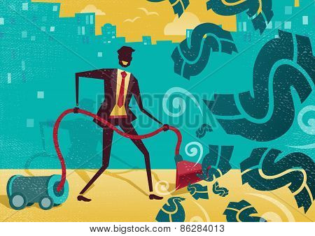 Businessman Vacuums Up The Money.