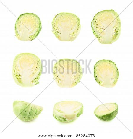 Multiple brussels sprouts isolated