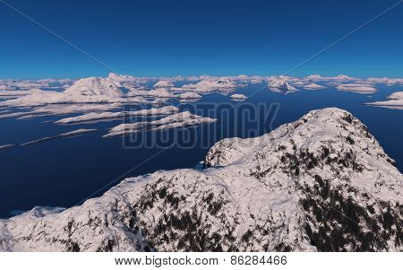 Island Covered With Snow.