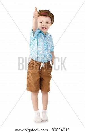 Little Boy Jumping And Having Fun Isolated On White Background.