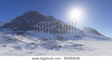 Sun Over The Snowcapped Mountains.