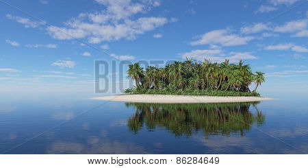 Tropical Island With Palm Trees Under Cloudy Sky.