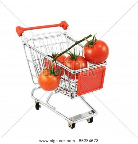 Cherry tomatoes in a shipping cart