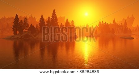 Forest On Rocky Shore At Sunset.