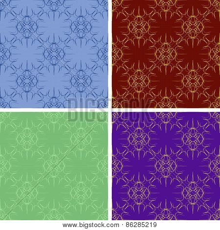 seamless colored outlines pattern set