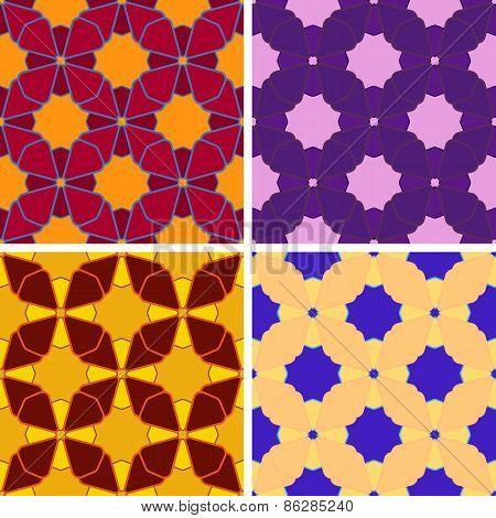 seamless abstract figures pattern set