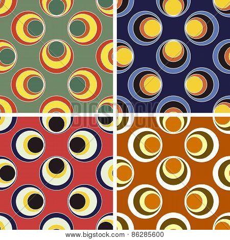 seamless round figures pattern set