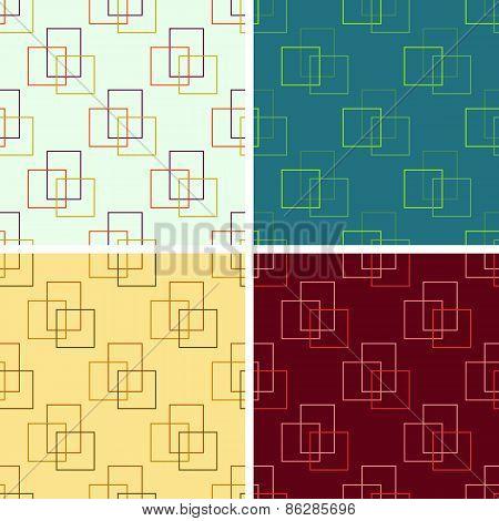 seamless rectangulars outline pattern set