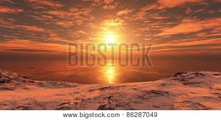 Sunset Over The Coast.