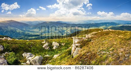 Stones In Valley On Top Of Mountain Range
