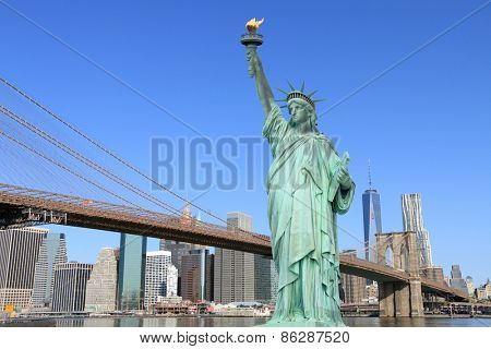 Brooklyn Bridge and The Statue of Liberty,  New York City