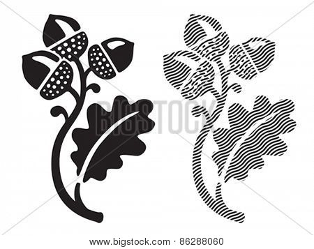 Oak leaf with acorns. Vector format EPS 8, CMYK.