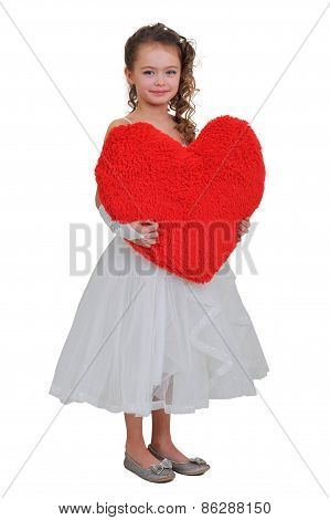 Girl And A Big Red Heart