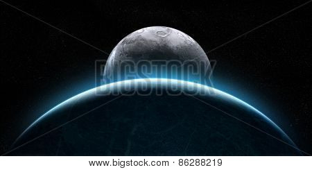 Rising Moon In Space