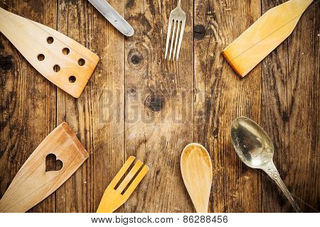 Wood And Metal Utensils, Wooden Table.