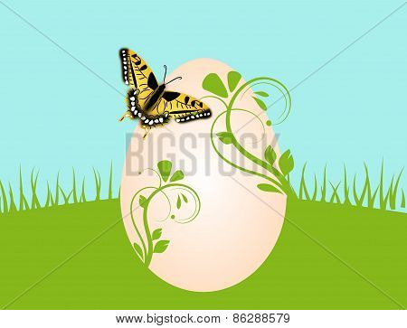 Easter Background With Egg And Butterfly