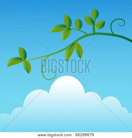An image of a simple tree branch with a sky and cloud background.